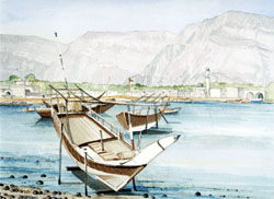 Khasab  with Dhows