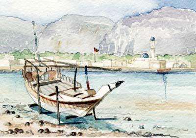 Khasab with a Dhow